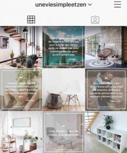 Compte Instagram Une Vie Simple et Zen qui parle de minimalisme